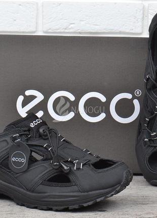 Сандалии мужские кожаные черные ecco спортивные босоножки из натуральной кожи экко