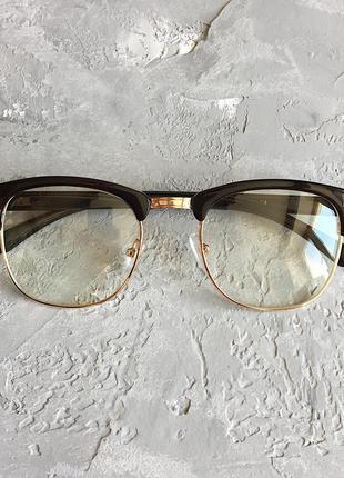 Мужские имиджевые очки  с коричневой оправой