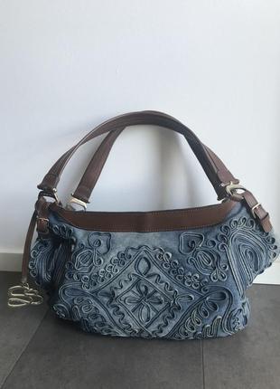 Вместительная, стильная, летняя сумка из денима scervino street! состояние новой!
