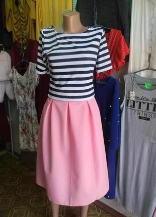 Хитовый костюм с юбкой миди и кроп топом много цветов и размеров розовый
