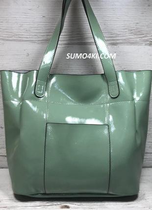 Женская лаковая сумка из натуральной кожи