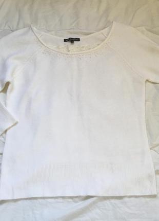 Свитер белый белоснежный кружево бисер расшит вышивка