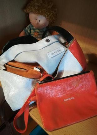 Кожаная сумка-мешок diesel.