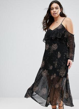 Шикарное шифоновое платье с цветочным притом,  длинное платье с открытыми плечами