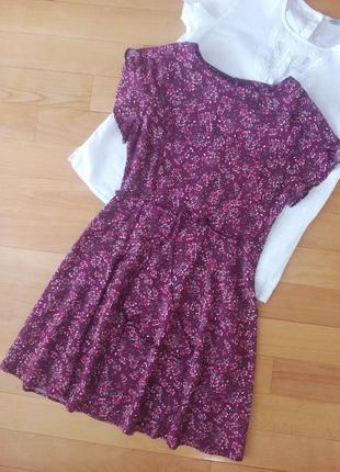 Платье в цветах из натуральной ткани