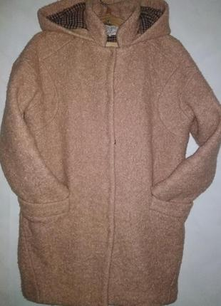 Шерстяное, буклированное пальто кокон zara trafaluk made in china