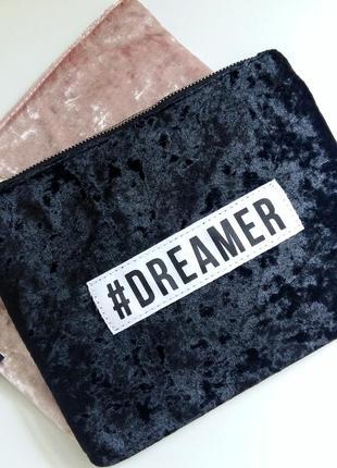 Последний бархатный клатч велюровая сумка принт косметичка черная стильная