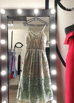 Трендовое миди платье с кружевом кружевное сексуальное юбка клеш бирюза мятное herve leger