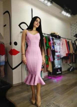 Шикарное сексуальное облегающее бандажное платье по фигуре herve leger лиловый сиреневый