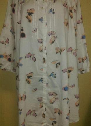 Бабочки,блуза большого размера