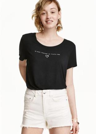 Черная базовая футболка майка топ с надписью принтом