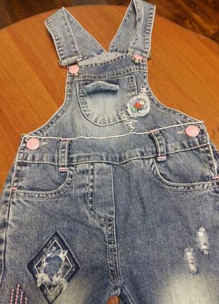 Крутой джинсовый комбинезон для девочки3