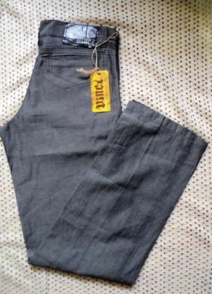 Легкие льняные серые брюки-джинсы vinci турция w29-31 l34.лето