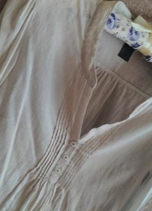 Брендовая тончайшая хлопковая блуза от h&m