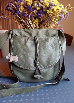 Кожаная зеленая  красивая сумка кроссбоди фирмы radley