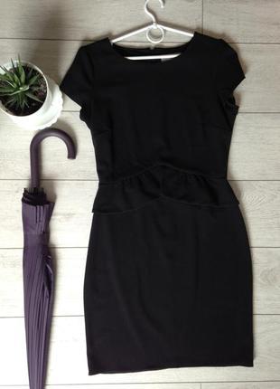 Черное платье миди с отрезной баской. такое будет только у вас!
