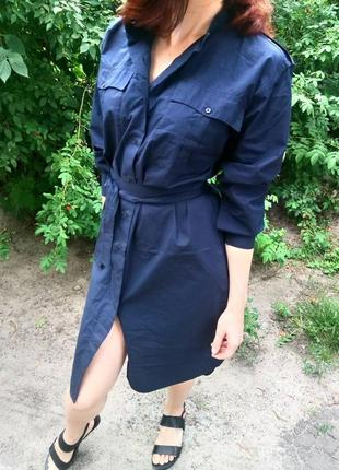Платье - рубашка uniqlo s-m. 100% хлопок.