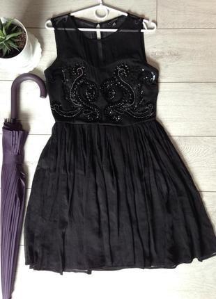 Роскошное выпускное вечернее платье с расшивкой камнями и бисером warehouse