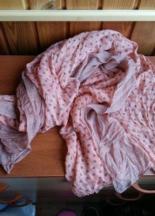 Шарф шарфик горох серый персиковый