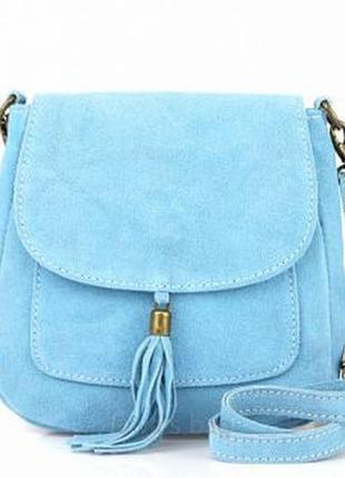 Замшевая голубая сумка lanira италия разные цвета