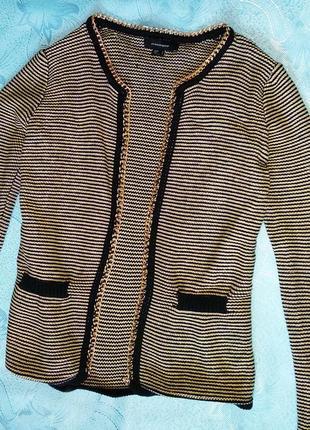 Стильный пиджак,жакет,кардиган в полоску с цепочкой