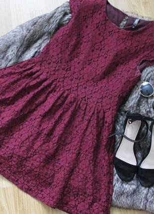 Кружевное летнее платье reserved марсала бургунди