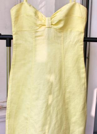 Топовое платье на бретелях из плотного льна
