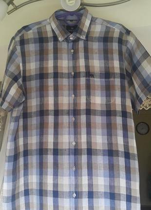 Льняная фирменная качественная рубашка в клеточку швейцарского бренда paul kehl