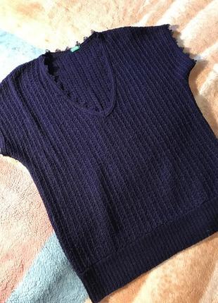 Синяя жилетка,футболка,тонкая вязка