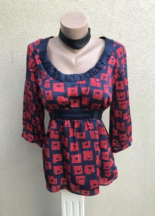 Шелковая блузка,рубаха под пояс,100% шёлк,ted baker оригинал,