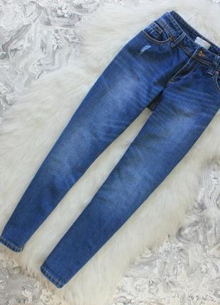 Крутые качественные джинсы бойфренд на невысокий рост / штаны с потертостями