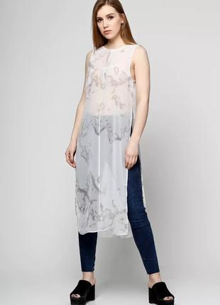 Майка блуза от h&m шифон длинная блузка майка с разрезами по бокам оргинальная