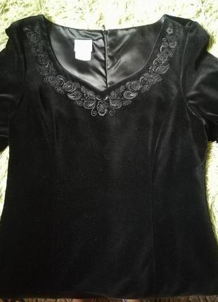 Чёрное бархатные платье laura ashley