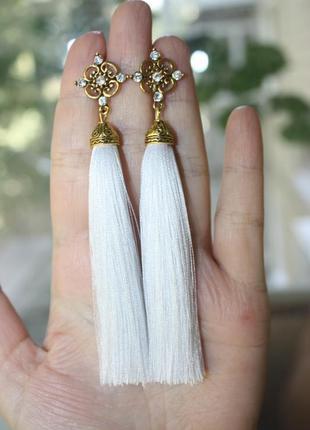 Серьги серёжки кисти кисточки пышные белые нити свадебные