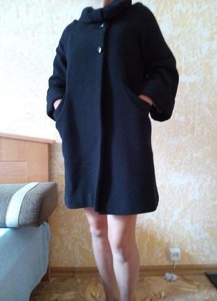 Шикарное пальто халат, пальто платье рукав ,3/4 шерсть 50% размер с/м