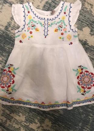 Жатое хлопковое платье на 3-4 года tu!