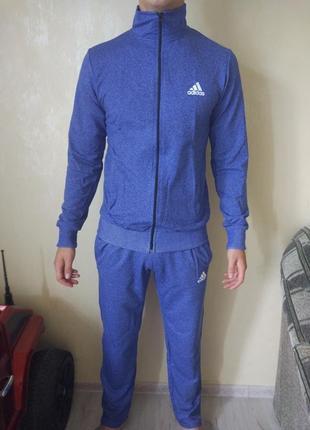 Яркий голубой спортивный костюм с м л хл 2хл на манжетах adidas