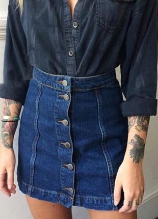 Стильна джинсова спідниця на гудзики/джинсовая юбка на пуговицах