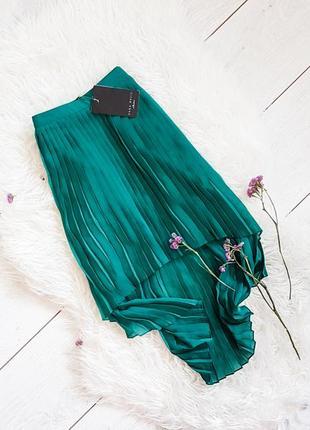 Зеленая ассиметричная юбка-плиссе zara basic
