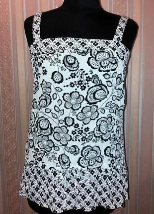 Нарядная стильная маечка, туника, блуза, цветочный принт, паетки, м-l