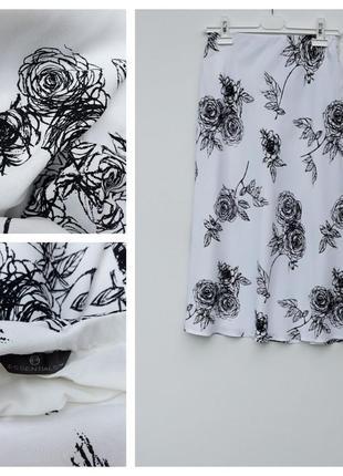 Летняя юбка миди легкая миди на резинкев цветочный принт вискоза