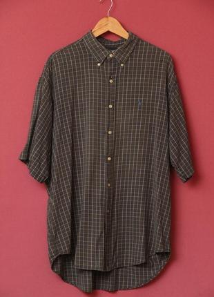 Polo ralph lauren xl  рубашка клечатая, голубой всадник.