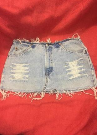 Классная джинсовая мини юбка levi's