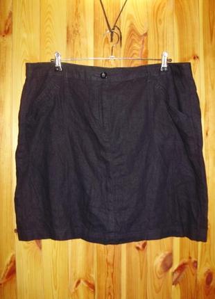 Новая темно-синяя льняная юбка/батал/20/54 размера