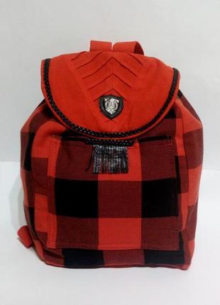 Стильный рюкзак в красную клетку ручная работа