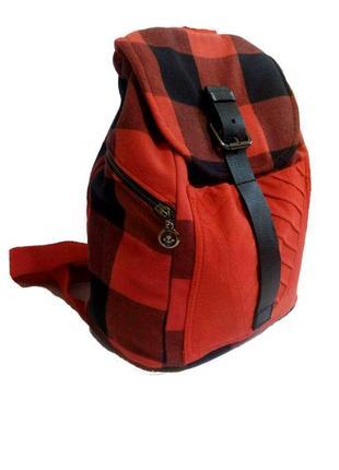 Крутой клетчатый рюкзак с кожаной вставкой ручная работа