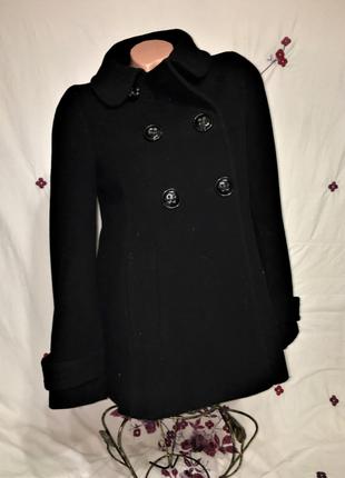 Zara basic шерстяное пальто шинель короткое с/м