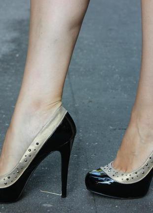 Красивые чёрные лакированные женские туфли на высоком каблуке dorothy perkins размер 39