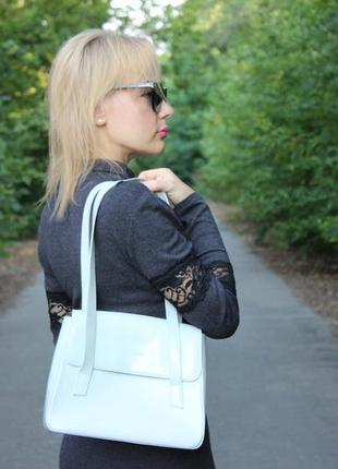 Женская серая кожаная сумка премиум-бренда lancaster paris кожа деловой стиль