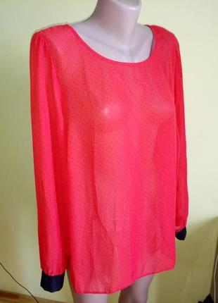 Блузка блуза в горошек 48-52р.рубашка сорочка,прозора,прозрачная